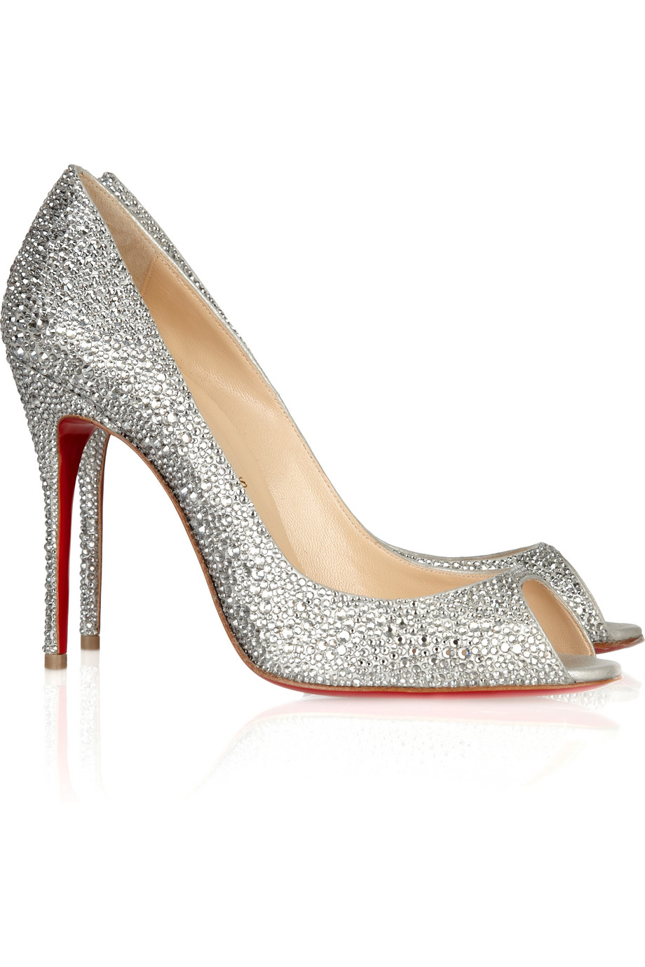 Christian Louboutin Crystal Encrusted Suede Pump In