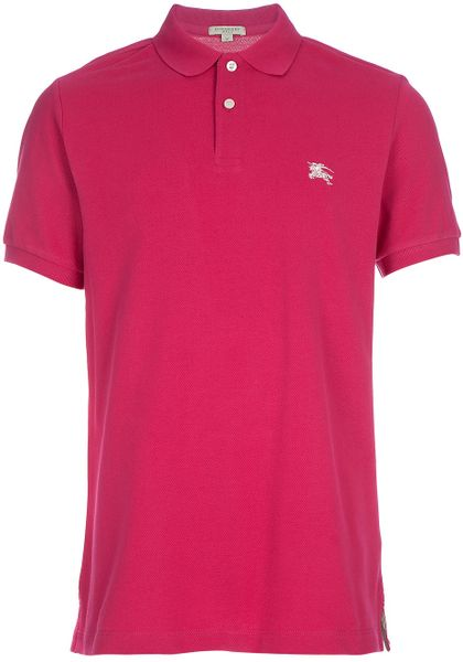 burberry polo shirt in pink for men fuschia lyst