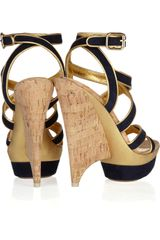 Emilio Pucci Suede Multistrap Platform Sandals in Blue (multi) - Lyst