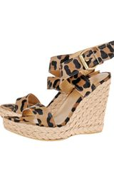 Stuart Weitzman For Scoop Exclusive Leopard Wrap Wedge - Lyst