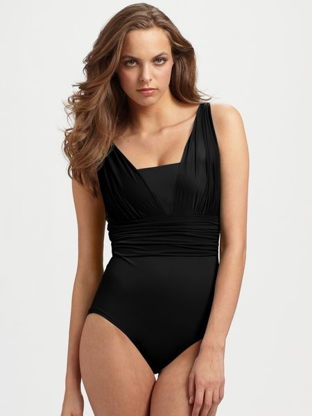 Spanx Ruched One-piece Swimsuit in Black - Lyst