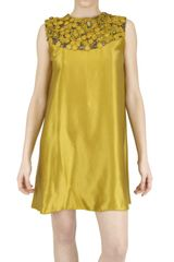Gilda Giambra Embroidered Hammered Silk Dress - Lyst