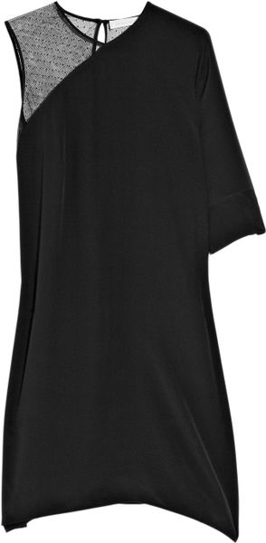 Richard Nicoll Stella Asymmetric Silkcrepe Dress in Black - Lyst