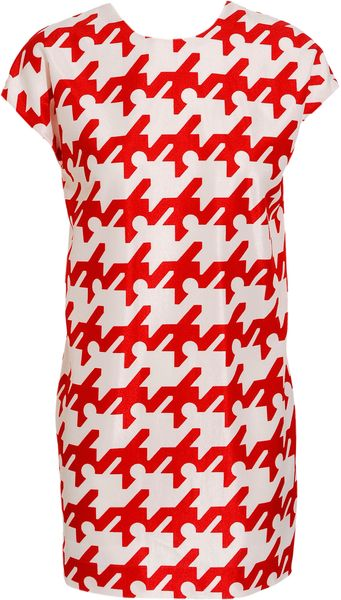 Balenciaga Woven Dress with Enlarged Houndstooth-print in Red - Lyst