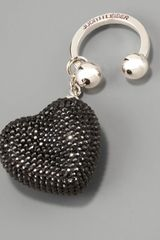 Judith Leiber Heart N Soul Key Ring, Black - Lyst