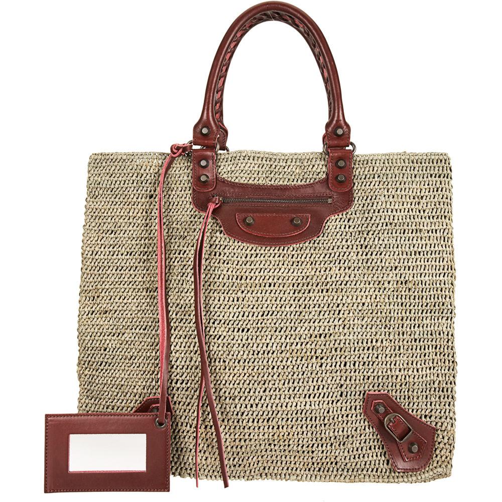 Lyst Balenciaga Raphia Large Bucket Bag In Natural