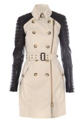 Burberry Prorsum Leather and Cotton Trench Coat in Beige - Lyst