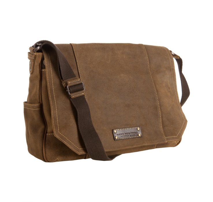Marc new york Brown Retro Suede Messenger Bag in Brown for Men | Lyst