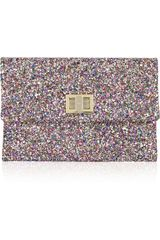 Anya Hindmarch Valorie Glitter-finish Leather Clutch - Lyst