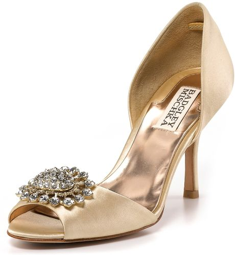Badgley Mischka Lacie Dorsay Evening Pumps in Beige (nude satin) - Lyst