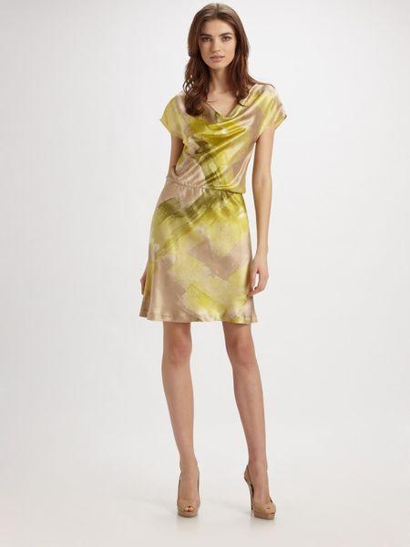Josie Natori Freseco Printed Silk Charmeuse Dress In Green