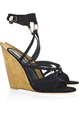 Saint Laurent Totem Sculpted-wedge Suede Sandals - Lyst