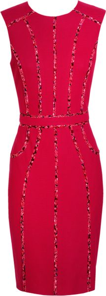 Jason Wu Cotton Pique Dress with Floral Silk Chiffon in Orange (fuchsia) - Lyst