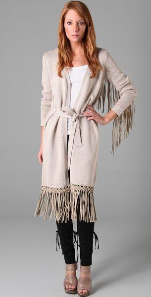 Haute Hippie Long Cardigan Sweater With Fringe In Beige Lyst