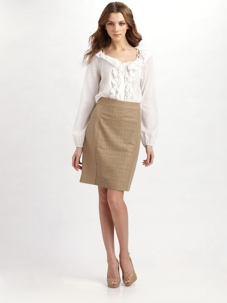 elie tahari ellis leather skirt in beige sand lyst