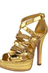 Prada Metallic Braided Strappy Sandal - Lyst
