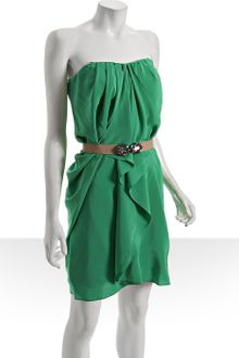 BCBGMAXAZRIA Emerald Pleated Silk Belted Strapless Dress - Lyst