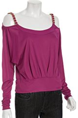 D&G Magenta Chain Detail Open Shoulder Top - Lyst
