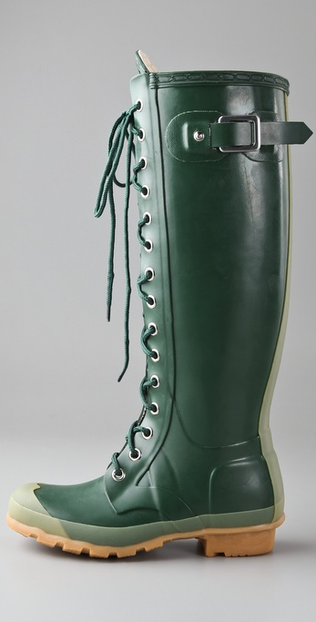 Hunter Watling Lace Up Gloss Boots In Green Lyst