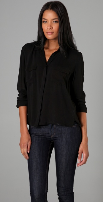 Cheap monday Daria Button Up Blouse in Black | Lyst