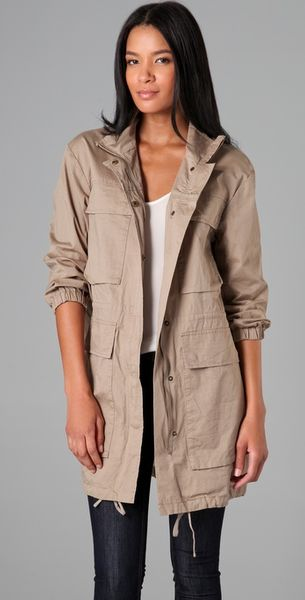 Dkny Pure Dkny Long Sleeve Parka in Beige (natural)