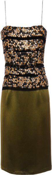 Ruffian Embellished Silksatin Dress in Green (moss) - Lyst