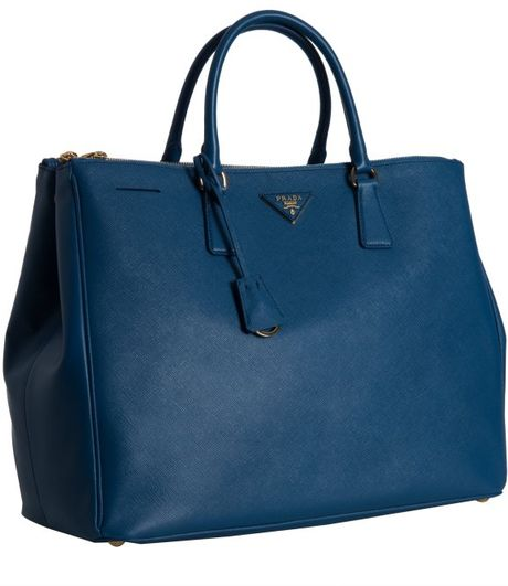 Prada Cobalt Saffiano Leather Tote Bag in Blue (cobalt)