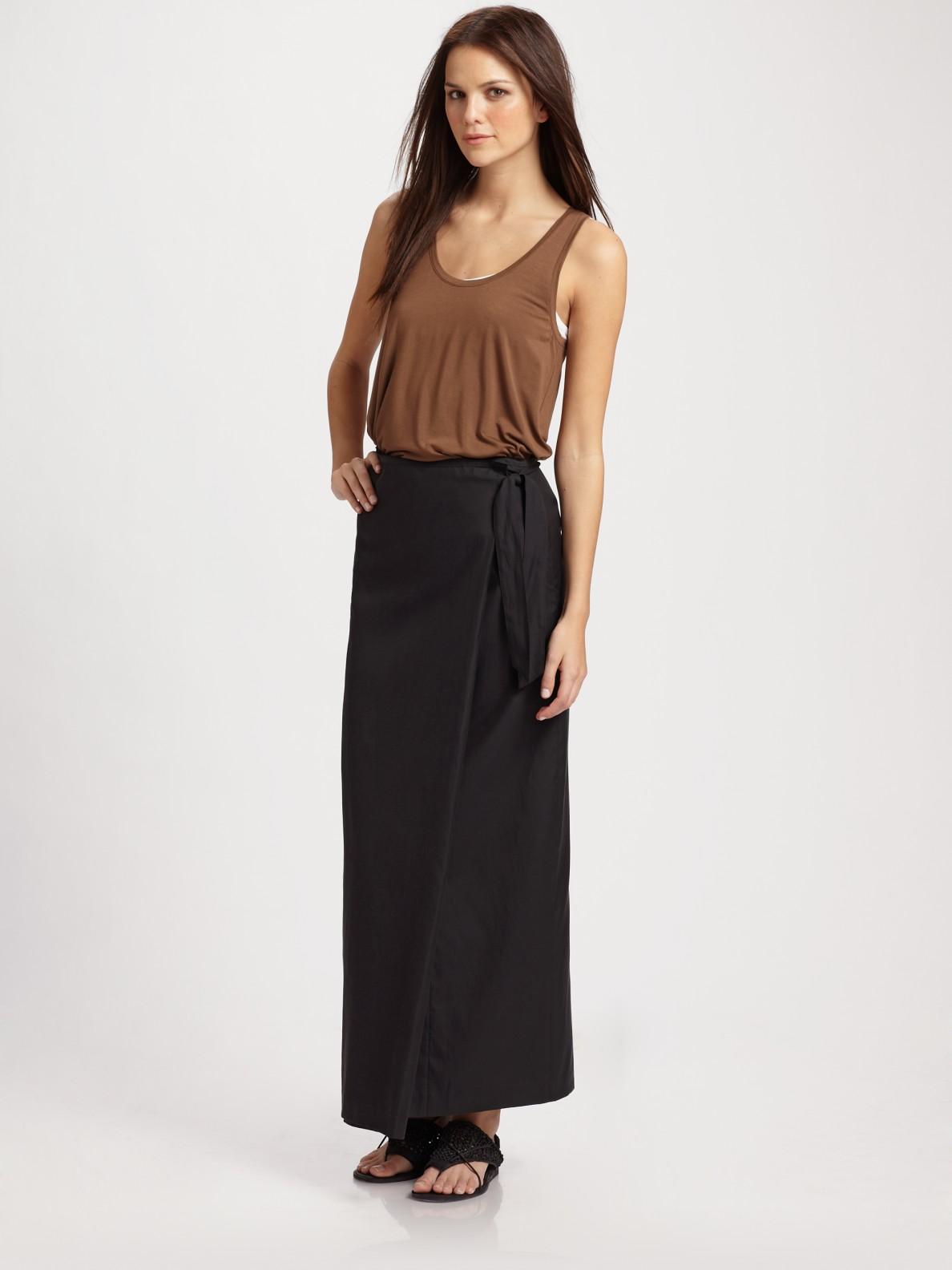 Vince Long Wrap Skirt in Black | Lyst