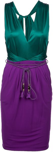 Gucci Vneck Dress in Purple (emerald) - Lyst
