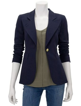 Smythe One Button Blazer in Navy - Lyst