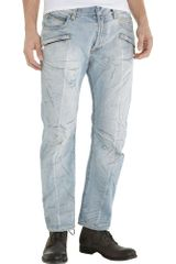 Balmain Straight Leg Destroyed Jean - Light Blue - Lyst