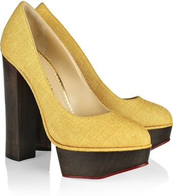 Charlotte Olympia Bebel Textured Cotton Platform Pumps - Lyst