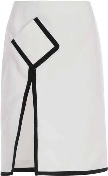 Saint Laurent Canvas Cotton A-line Skirt in White - Lyst