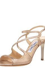 Jimmy Choo Strappy Brushed-metallic Sandal - Lyst