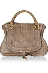 Chloé Marcie Large Python and Leather Tote - Lyst