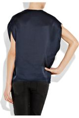 Vince Oversized Silk Top in Blue - Lyst