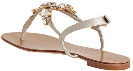 Giuseppe Zanotti Champagne Leather Jeweled Thong Sandals