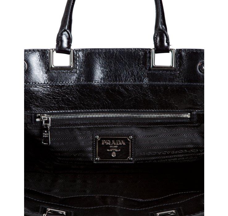 Prada Black Nylon Calfskin Detail Framed Satchel in Black | Lyst