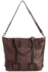 Vince Camuto Dark Brown Leather Vc Bolts Studded Tote in Brown - Lyst