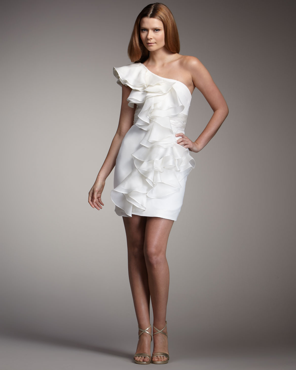 77b9cc9b089 Marchesa notte One-shoulder Ruffle Dress in White - Lyst