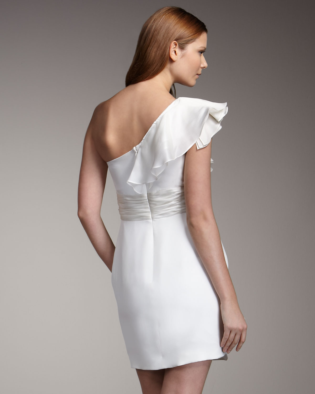 white one shoulder party dress