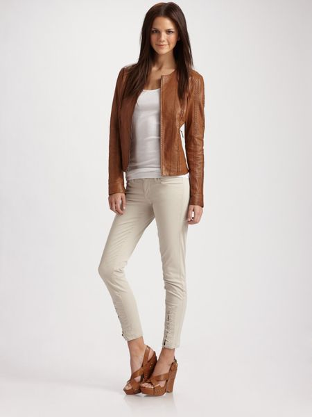Vince Vintage Leather Zip Jacket in Brown (camel) - Lyst