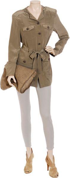 Little Joe Sweet Caroline Silk Cargo Jacket In Green Moss