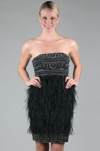 Sue Wong Strapless Feather Dress - Lyst