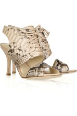 Alexandre Birman Python Lace-up Cutout Sandals - Lyst