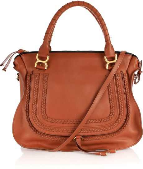 Chloé Marcie Large Leather Tote in Brown (gold) - Lyst