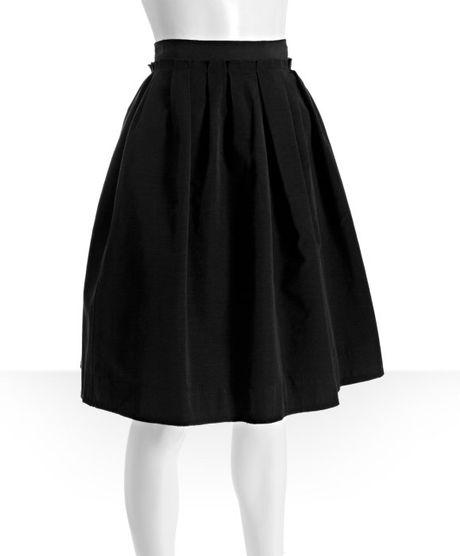 d g black cotton blend pleated knee length skirt in black