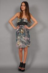 Haute Hippie Strapless Moody Floral Dress In Dusty Lilac - Lyst