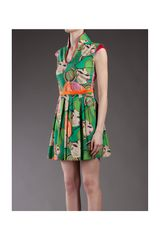 Philosophy Di Alberta Ferretti Face Print Dress in Green - Lyst