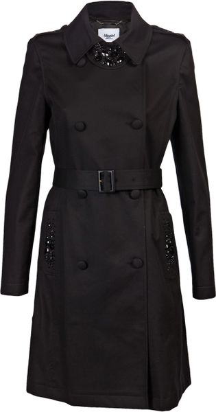 Blugirl Blumarine Beaded Trench Coat in Black - Lyst